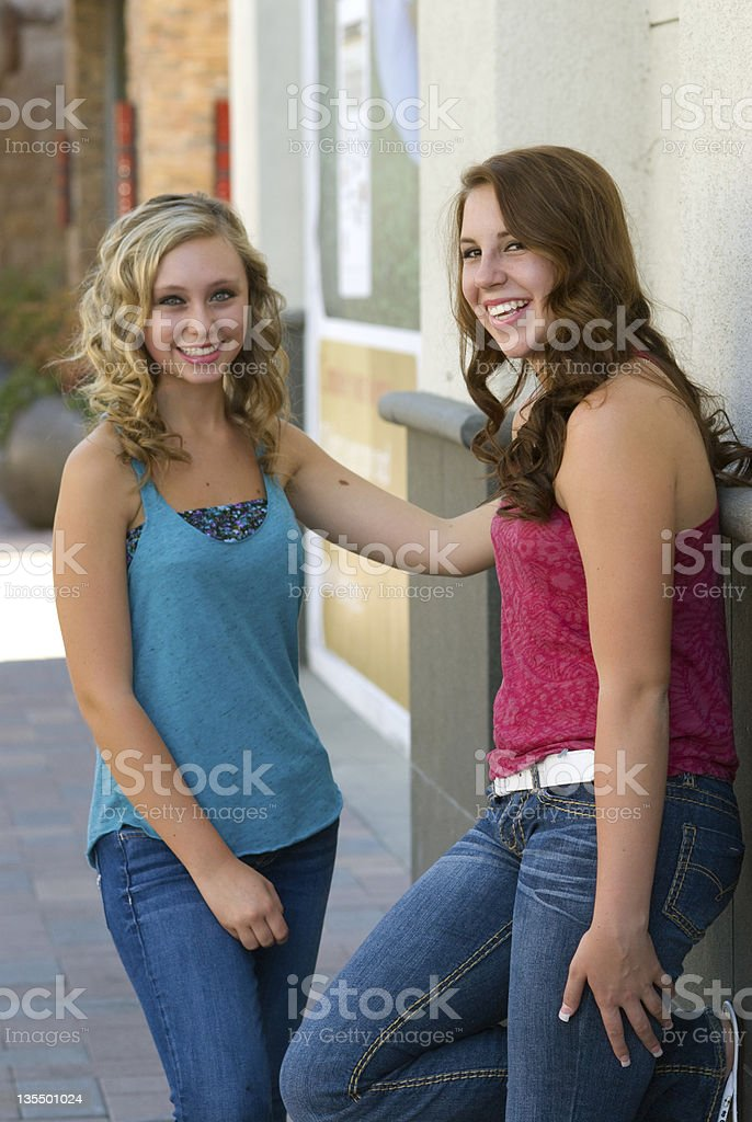 Teen girls at the mall royalty-free stock photo