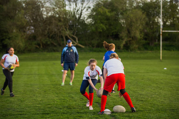 Teen Girls doing a Rugby Drill stock photo