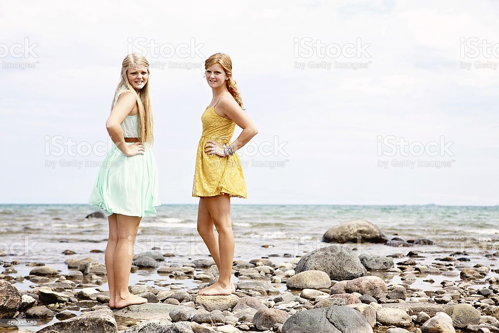 Teen Girls Together at the Beach royalty-free stock photo