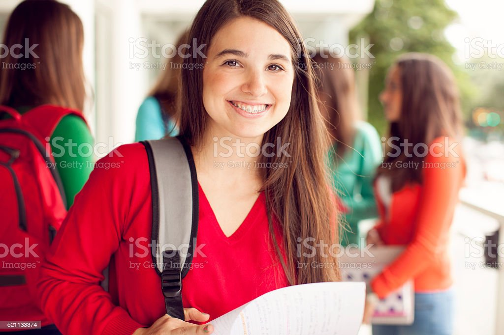 Teen Girls with Books stock photo