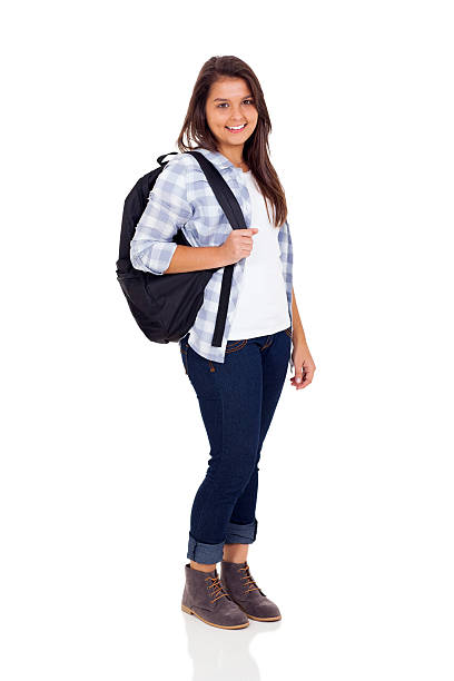 teen high school girl with backpack smiling teen high school girl with backpack isolated on white background cute middle school girls stock pictures, royalty-free photos & images