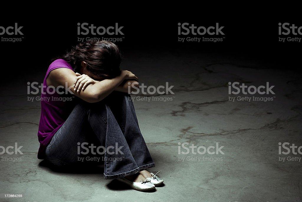 Teen in depression stock photo