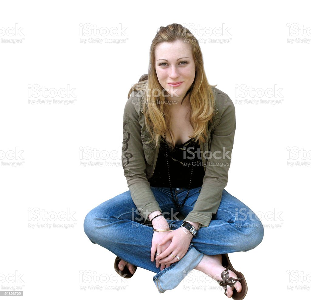 Teen in jeans royalty-free stock photo