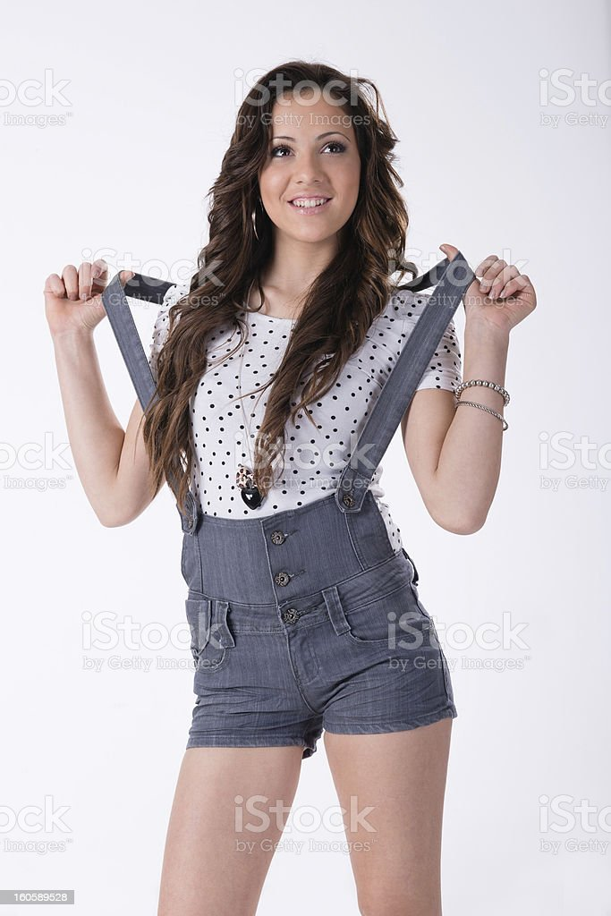 teen in jeans shorts royalty-free stock photo