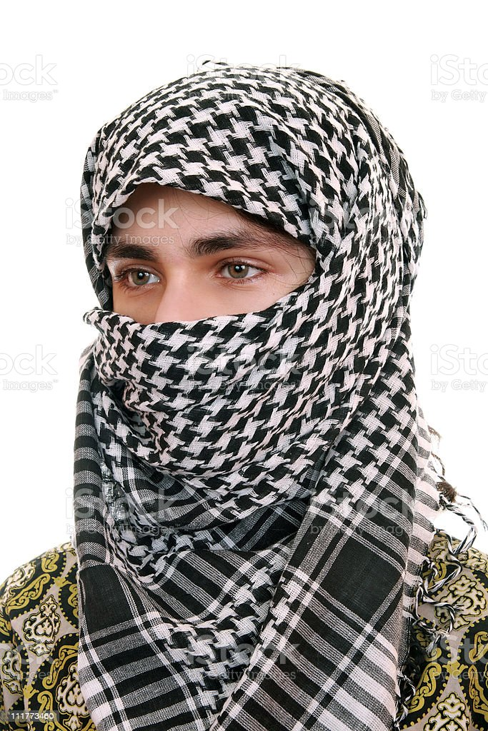 Teen in kufiya stock photo