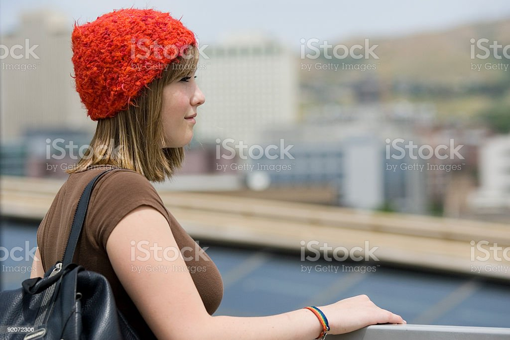 Teen Looking at Cityscape royalty-free stock photo