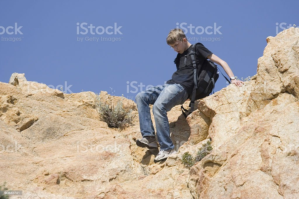 teen mountaineering royalty-free stock photo