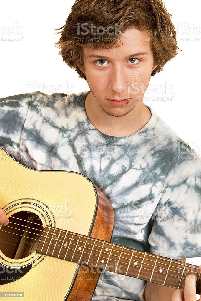 Teen playing guitar royalty-free stock photo