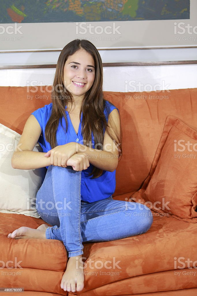 Teen Posing With Feet On Couch Stock Photo Istock