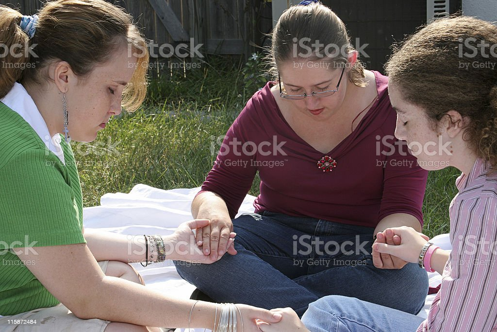 Teen Prayer Circle Two stock photo