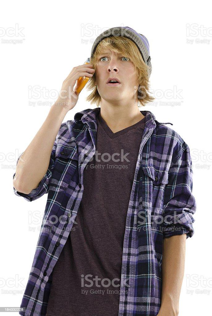 Teen Receives Bad News Call stock photo