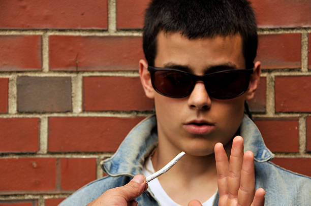 Teen Refuses Joint (Select Focus) stock photo