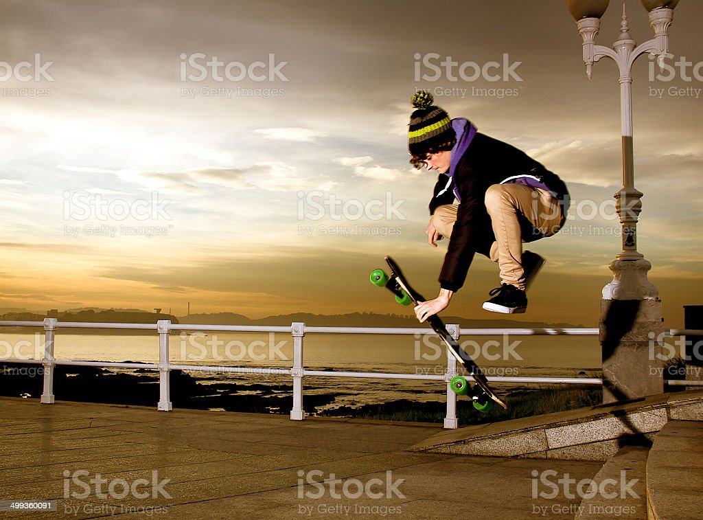 teen skateboarder stock photo