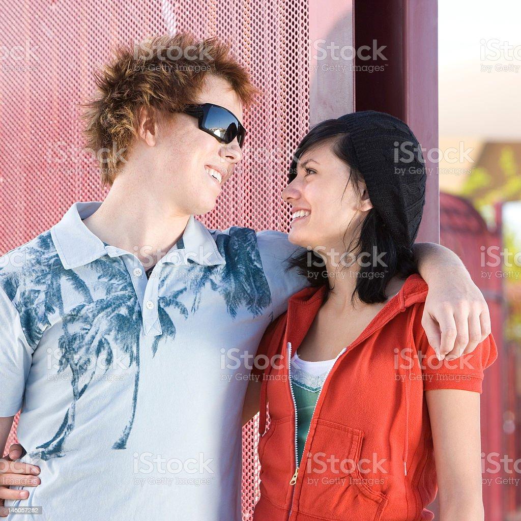 Teen skater couple royalty-free stock photo