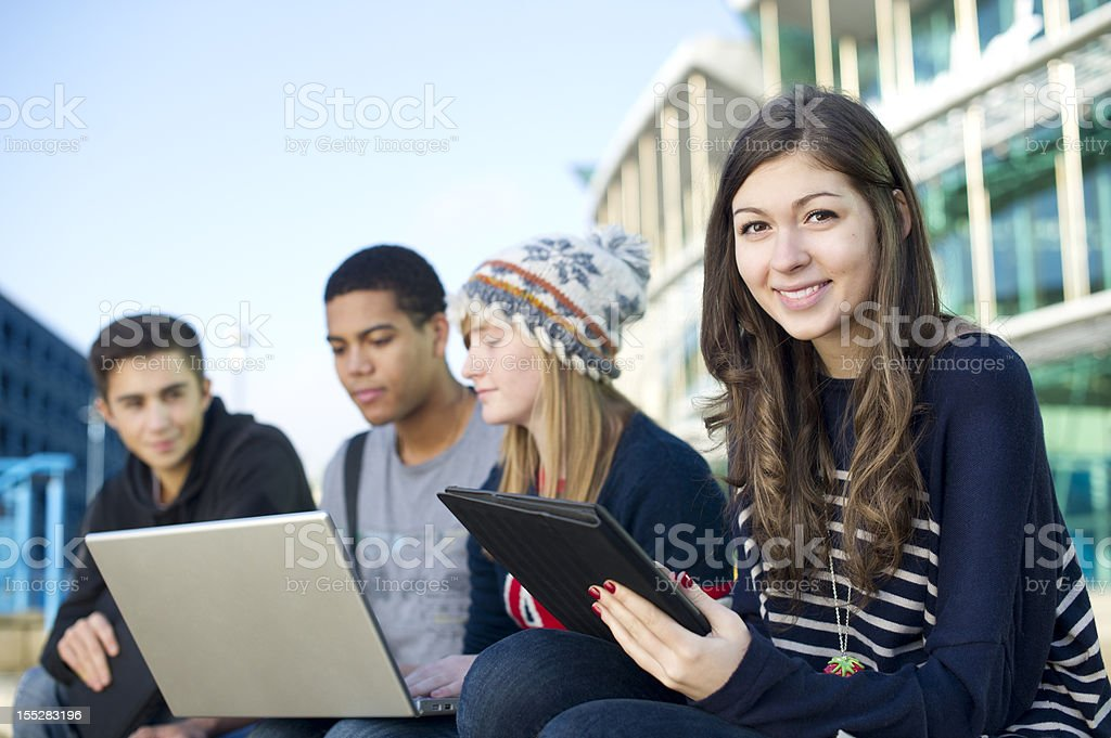 teen study group outdoors royalty-free stock photo