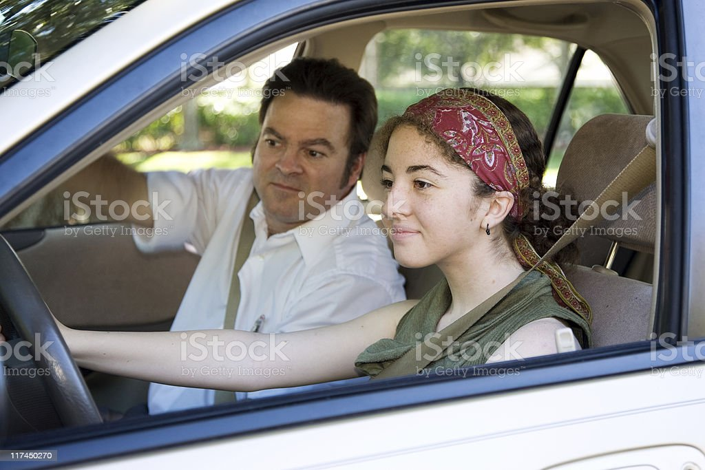 Teen Takes Driving Test royalty-free stock photo