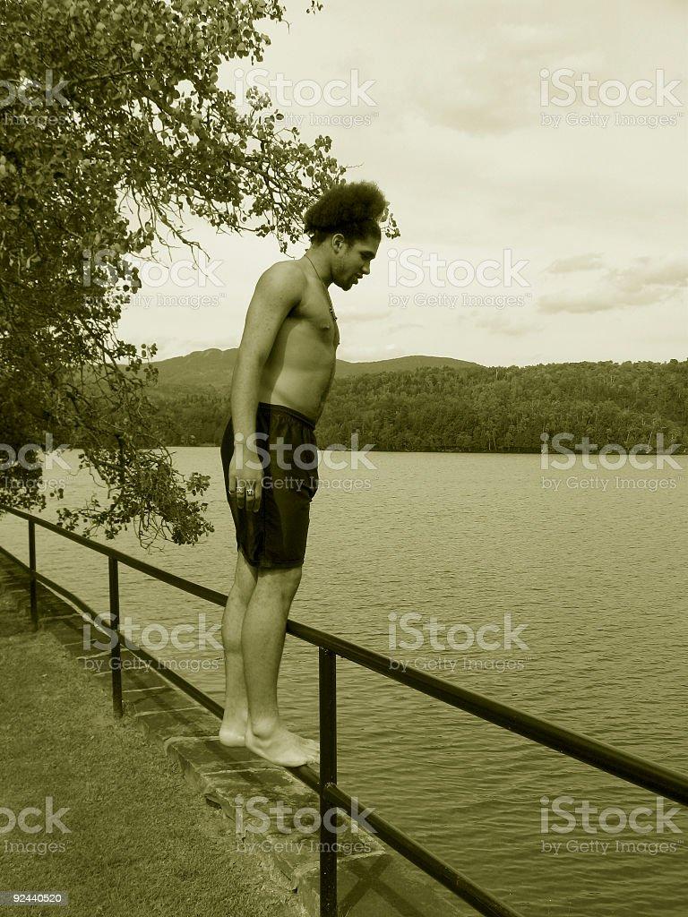 Teen Thinking of Jumping_2 royalty-free stock photo