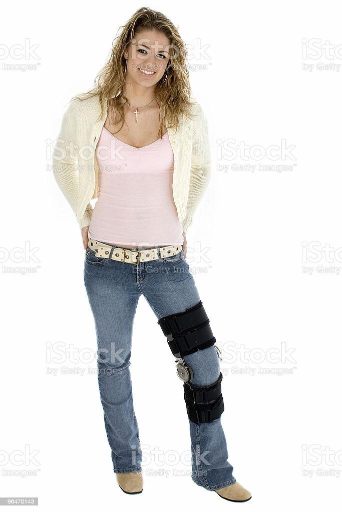 Teen Wearing Leg Brace with Clipping Path royalty-free stock photo