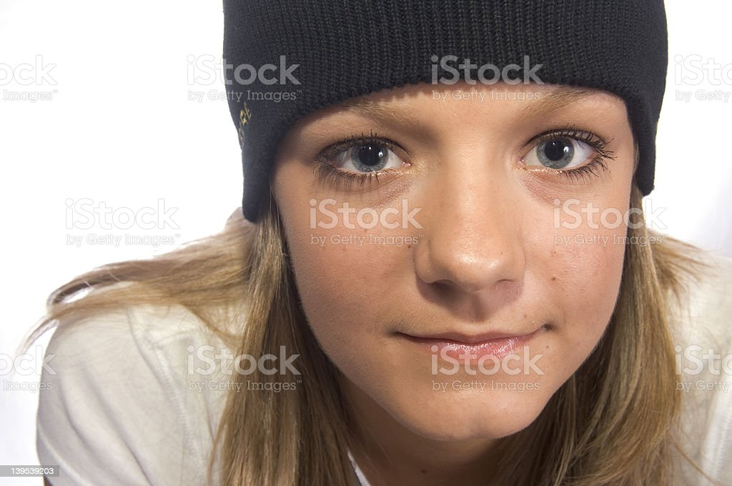 Teen with cap royalty-free stock photo