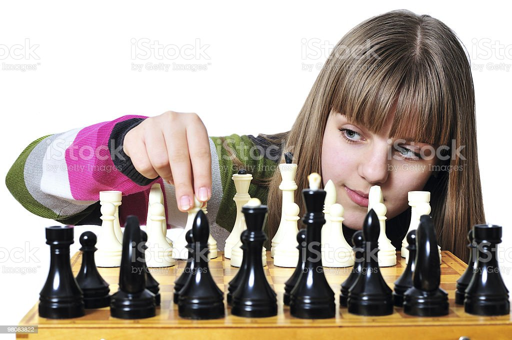 teen with chess royalty-free stock photo