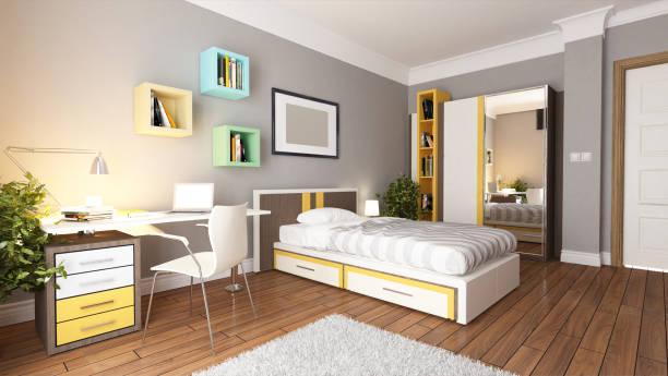 teen young bedroom interior design stock photo