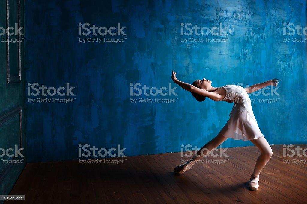 Teenage ballerina in the studio stock photo