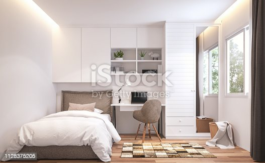 Teenage bedroom 3d render,There are wooden floor and  white wall.Furnished with brown bed and white cabinet.There are white frame window overlooks to nature view.
