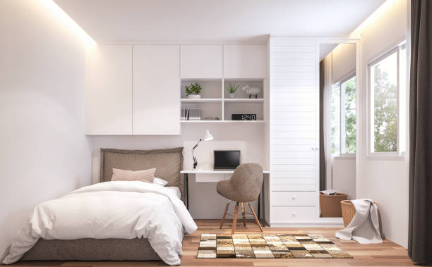 Teenage bedroom 3d render Teenage bedroom 3d render,There are wooden floor and  white wall.Furnished with brown bed and white cabinet.There are white frame window overlooks to nature view. bedroom stock pictures, royalty-free photos & images