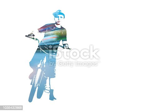 A Teenage Bicycle Rider, Traffic Lights, Isolated On White Background. Double Exposure Safe Riding Concept.