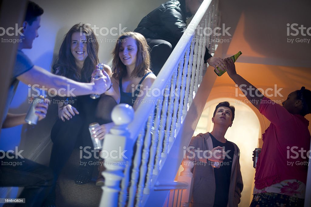 teenage booze at a house party stock photo