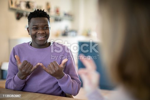 Teenage Boy And Girl Having Conversation Using Sign Language
