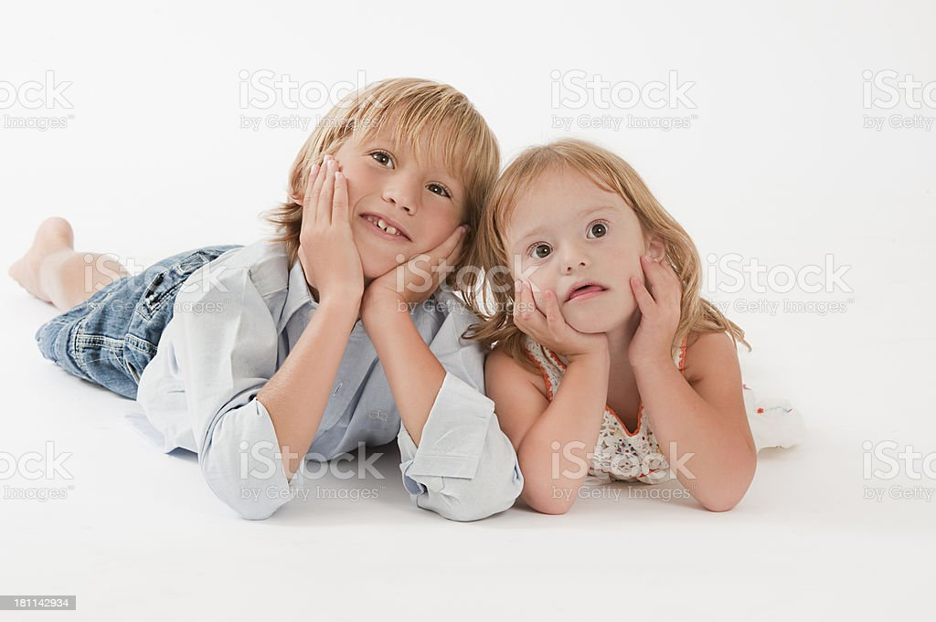 Teenage Boy and her sister royalty-free stock photo