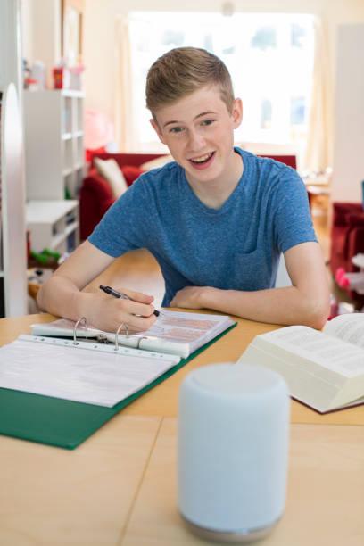 Teenage Boy Doing Homework Asking Digital Assistant Question Teenage Boy Doing Homework Asking Digital Assistant Question smart speaker stock pictures, royalty-free photos & images