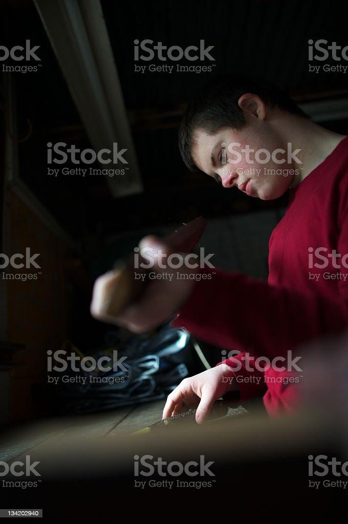 Teenager Boy, die Holzarbeiten – Foto