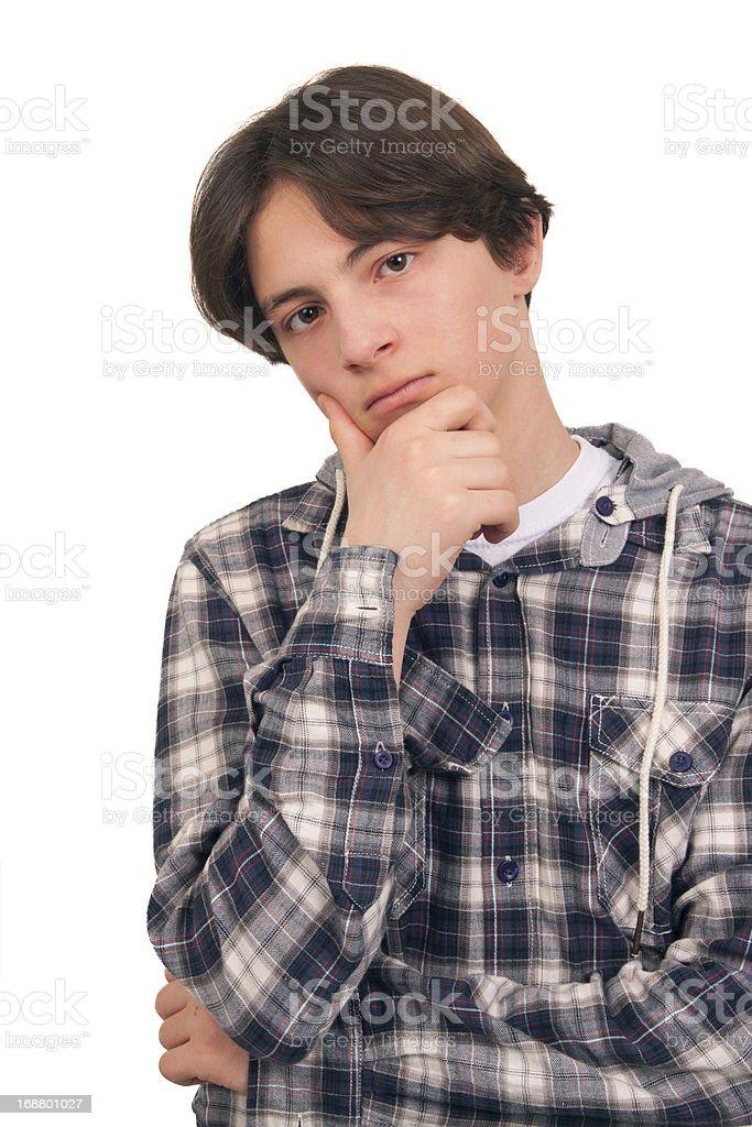 Teenage boy doubts stock photo