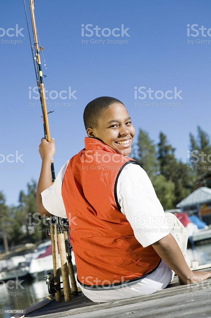 Teenage Boy Fishing stock photo