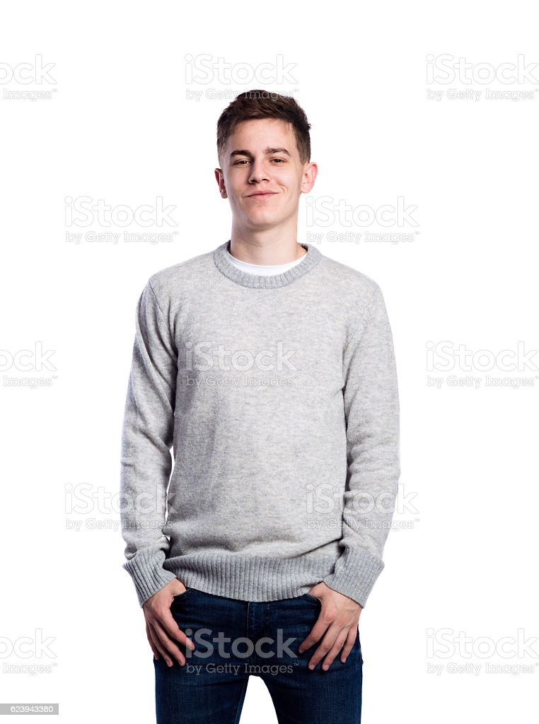 Teenage boy in gray sweater and scarf. Studio shot, isolated. - Photo