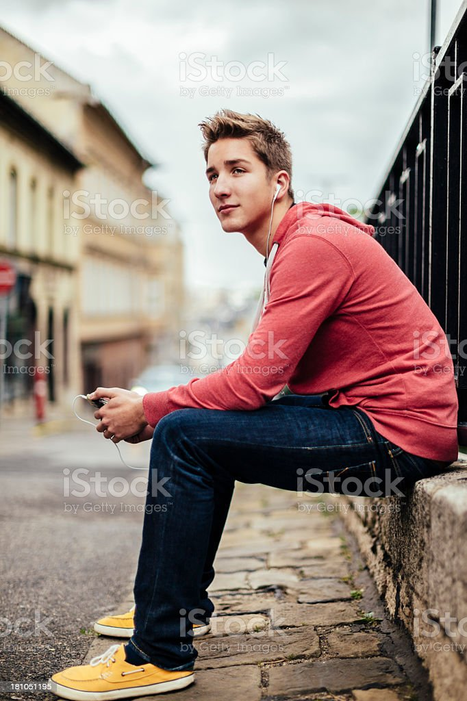 Teenage boy in the city stock photo