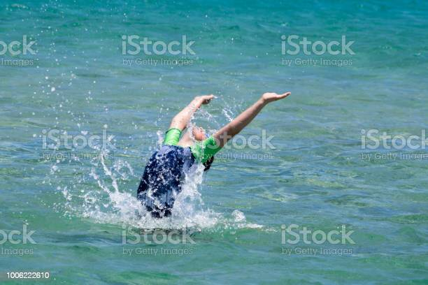 Teenage Boy Leap Out Of The Sea Stock Photo Download Image Now Istock