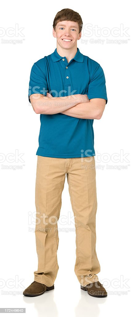 Teenage Boy Posing, Arms Crossed, Full Length Standing Portrait stock photo