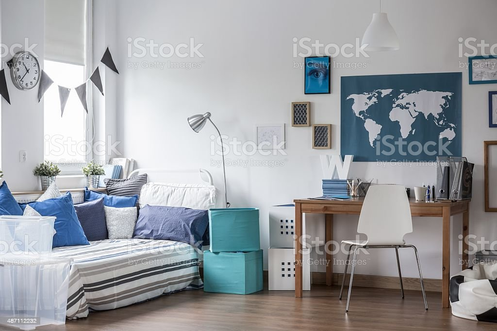 Teenage boy room design stock photo