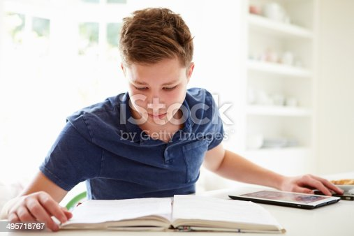 istock Teenage Boy Studying Using Digital Tablet At Home 495718767