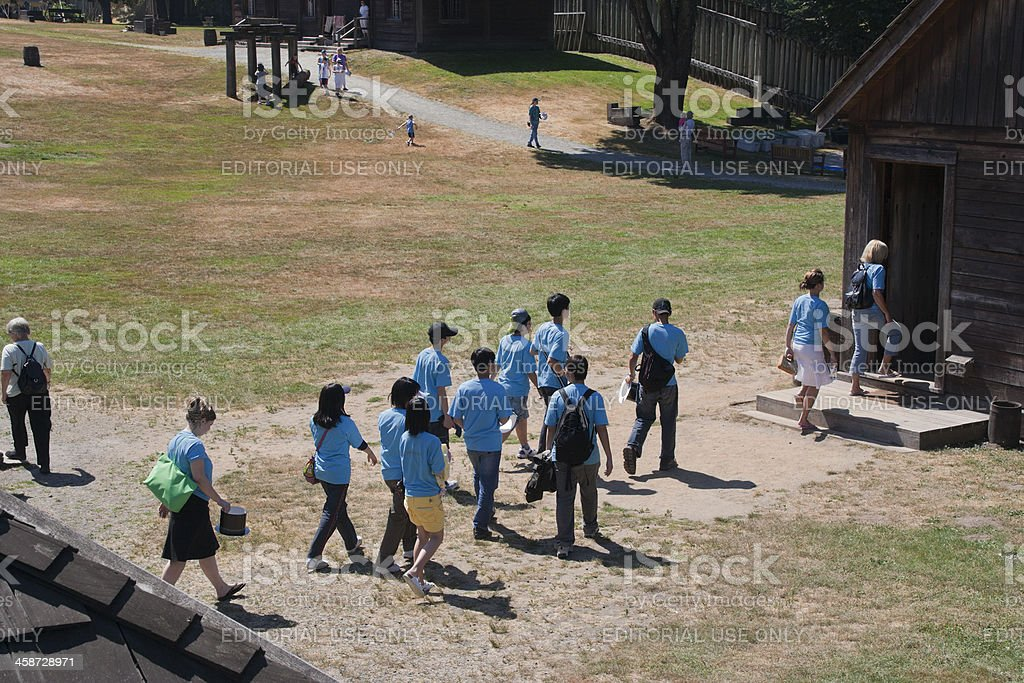 Teenage Boys and Girls in School Uniform visiting Fort Langley stock photo