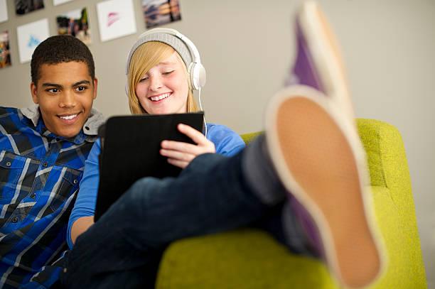 teenage connectivity stock photo