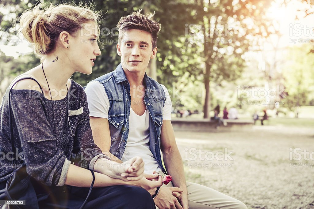Teenage Couple, Friends at the Park royalty-free stock photo
