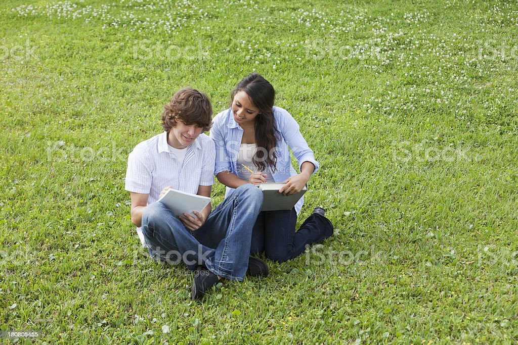 Teenage couple sitting on grass studying royalty-free stock photo