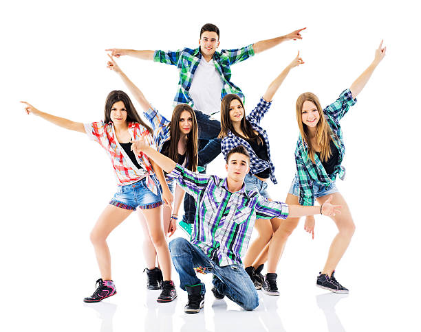 teenage dance group. - dance group stock photos and pictures