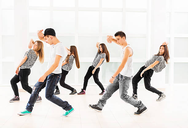 teenage dancers. - dance group stock photos and pictures