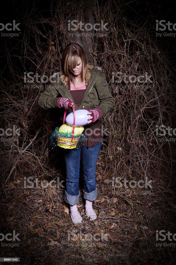 teenage female easter egg hunt royalty-free stock photo