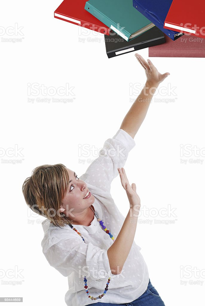 Teenage female overloaded from homework royalty-free stock photo